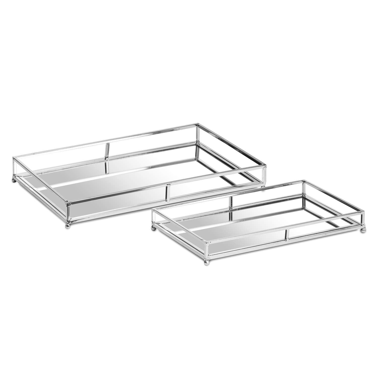 Set of 2 Mirrored Trays