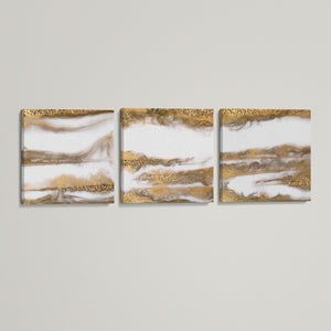Gold Smoke Triptych Canvas
