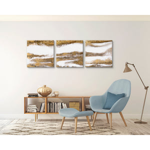 Gold Smoke Triptych Canvas-Canvas-Urban Luxe Art