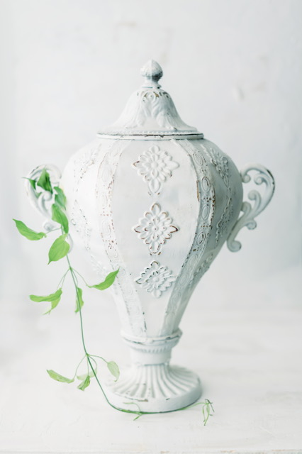 Antique White Metal Urn