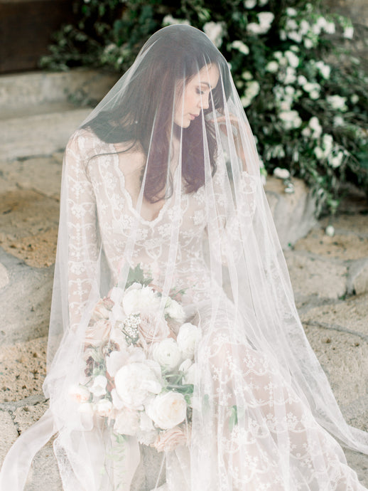 French Chantilly Lace Veil- Rental
