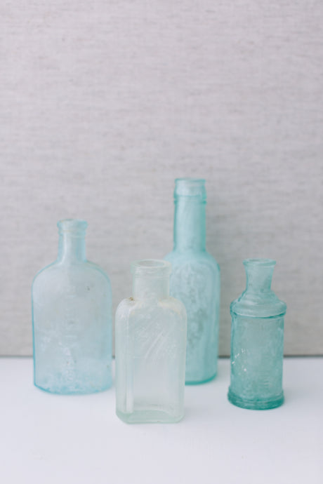 Coastal Vintage Glass Bottles Collection