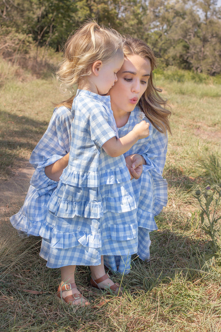 Mini Blue Gingham Dress