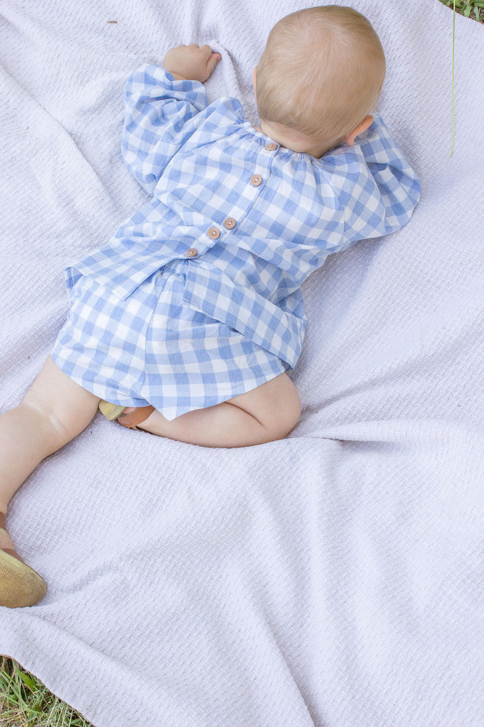 Mini Blue Gingham Unisex Smock TOP