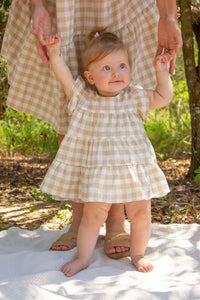 Mini Sand Gingham Dress (Restock Sep 2021)