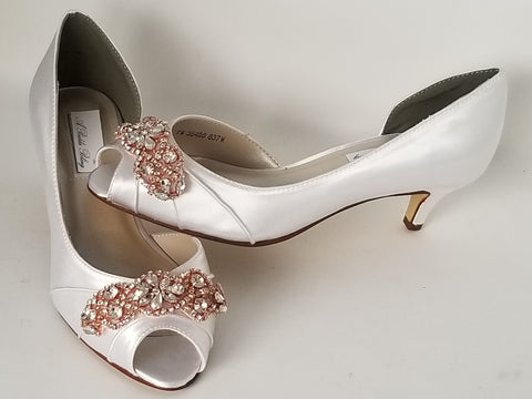 Kitten Heels - White Wedding Shoes