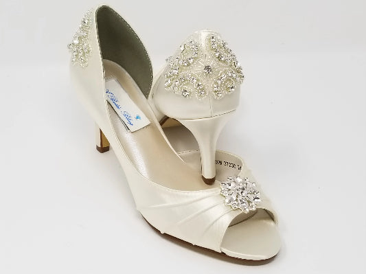Ivory Bridal Shoes Crystal Back and Front Swirl Design