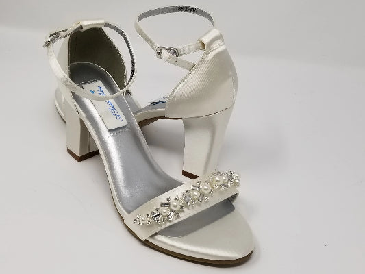 ivory block heels with pearls