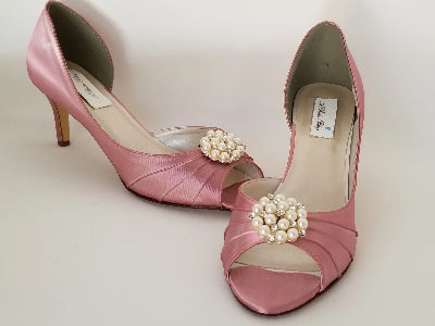 rose pink wedding shoes with pearls