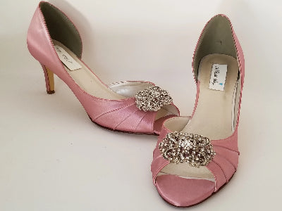 pink wedding shoes with vintage design