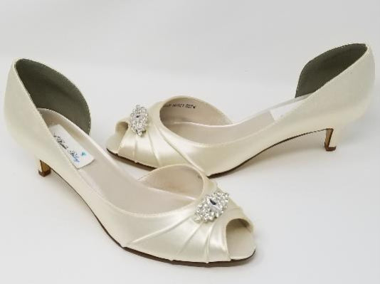 Ivory Wedding Shoes with Crystal Brooch