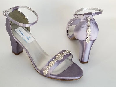 purple bridal shoes with crystals