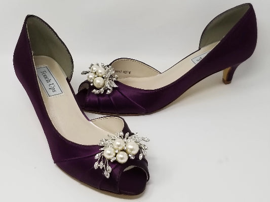 eggplant purple wedding shoes with pearls and crystals