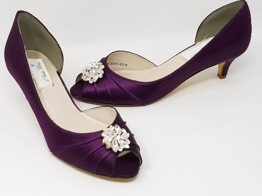 purple wedding shoes crystal design
