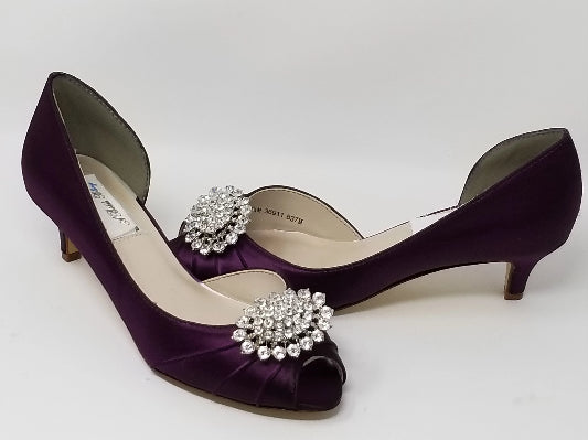 eggplant purple crystal bridal shoes