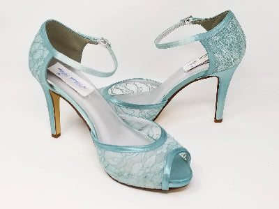 blue lace bridal shoes
