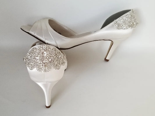 ivory wedding shoes crystal back design