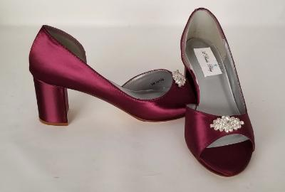 Burgundy Block Heels with Crystal Design