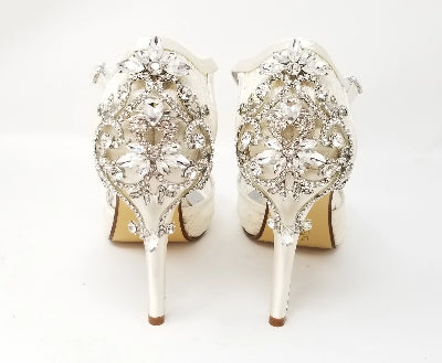 Ivory Lace Bridal Shoes with Crystal Back Design