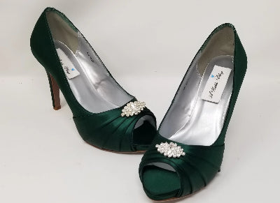 green high heel wedding shoes