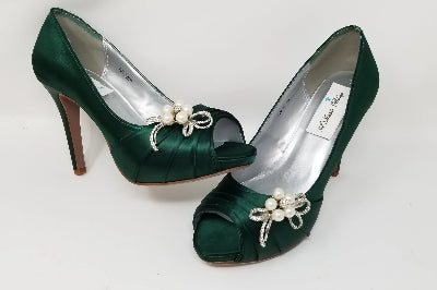 green bridal shoes high heel