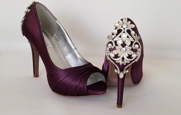 Eggplant Purple Wedding Shoes Crystal Back Design