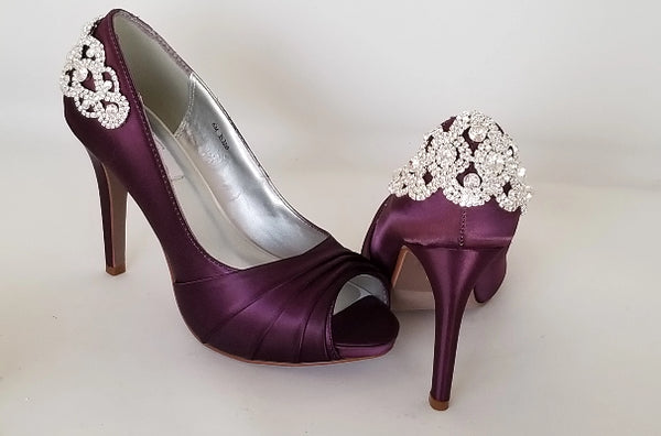 purple bridal shoes crystal back design