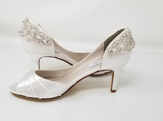 white bridal shoes crystals on back