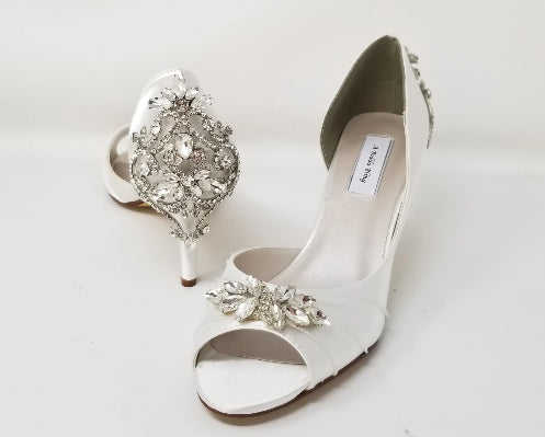 white bridal shoes embellished with crystals