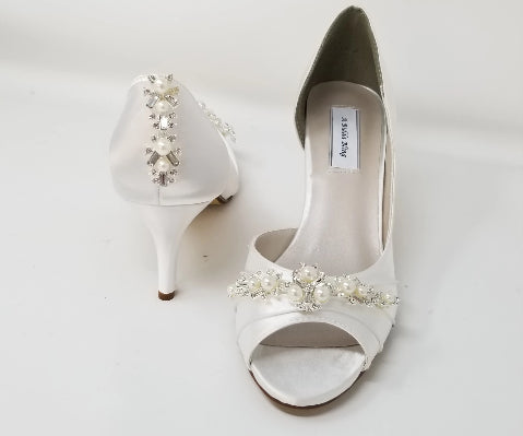 white wedding shoes with pearls and crystals