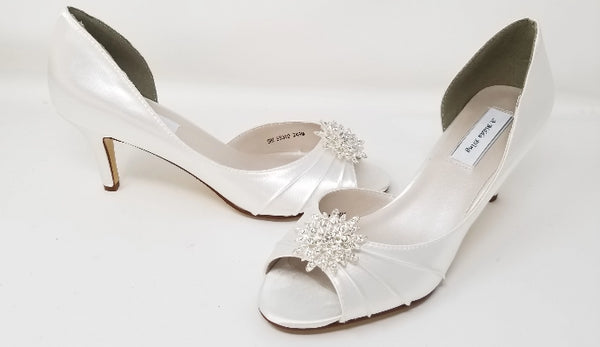 white wedding shoe with rhinestones