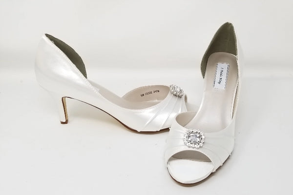 White Bridal Shoes with Crystal Square Design