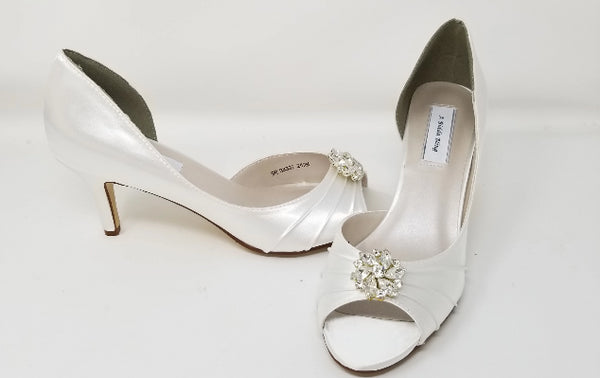 white wedding shoes with crystal flower