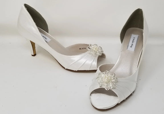 White Bridal Shoes with Crystal and Pearl Flower Design