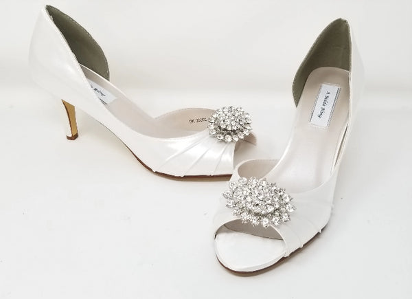 White Bridal Shoes with Sparkling Crystal Oval Design