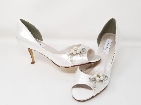 White Bridal Shoes with Pearl and Crystal Bow Design