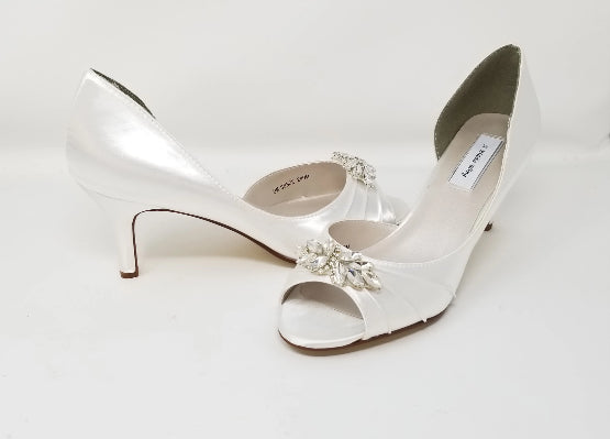 White Bridal Shoes with Sparkling Crystal Applique