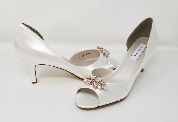white wedding shoes rose gold design