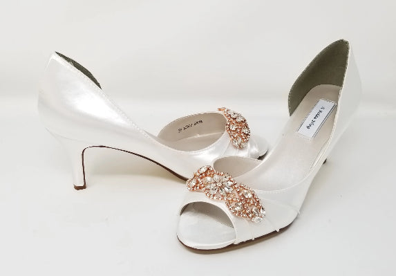 white wedding shoes with rose gold applique