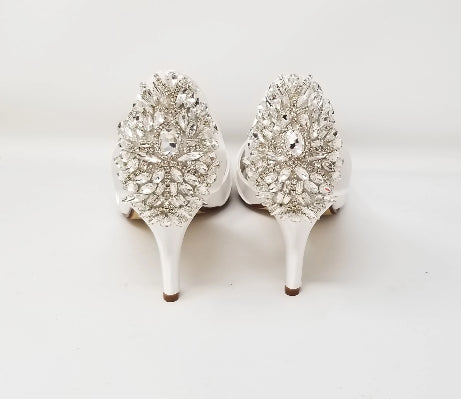 white bridal shoes with rhinestone back design
