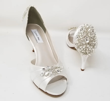 white wedding shoes crystal back and front
