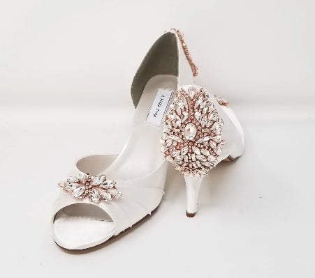 white wedding shoes with rose gold crystals