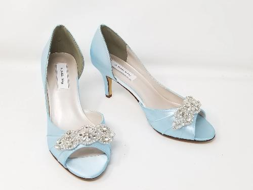 blue wedding shoes with crystal beading