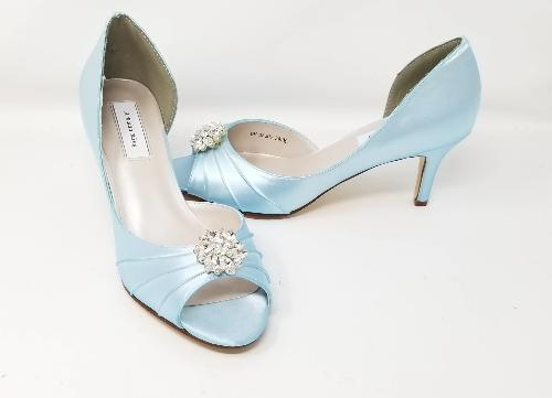 Capri Blue Bridal Shoes with Crystal Swirl Design