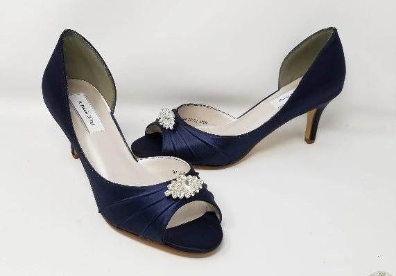 navy blue wedding shoes crystal design