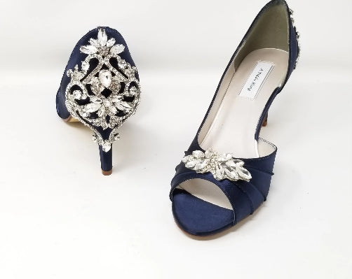 blue wedding shoes with crystal back