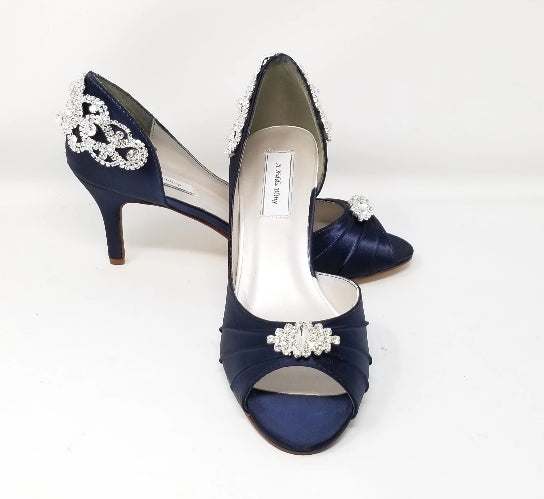 navy wedding shoes with crystal back