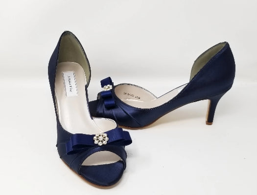 blue wedding shoes with satin bow