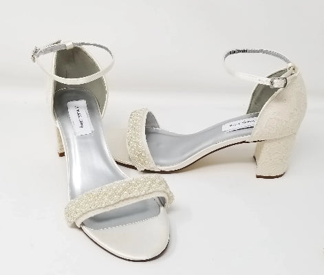 Ivory or White Lace Wedding Shoes Block Heel Pearl Beading Design
