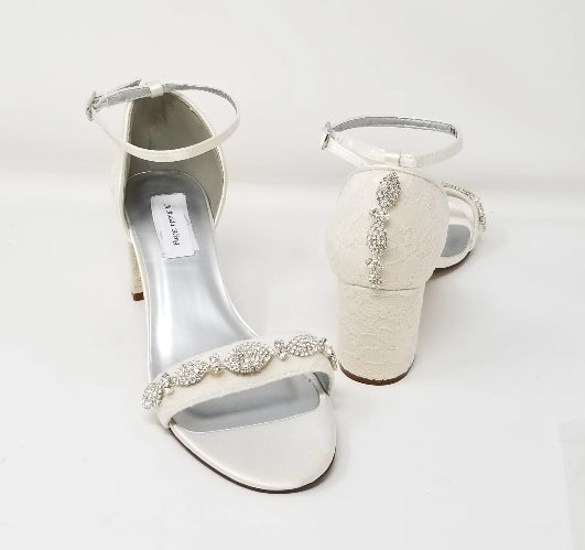 ivory lace block heel bridal shoes